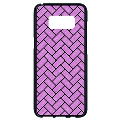 Brick2 Black Marble & Purple Colored Pencil Samsung Galaxy S8 Black Seamless Case by trendistuff