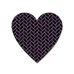 Brick2 Black Marble & Purple Colored Pencil (r) Heart Magnet by trendistuff