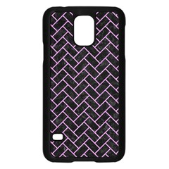 Brick2 Black Marble & Purple Colored Pencil (r) Samsung Galaxy S5 Case (black) by trendistuff