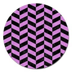 Chevron1 Black Marble & Purple Colored Pencil Magnet 5  (round) by trendistuff