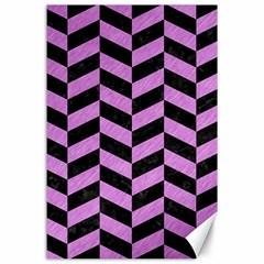 Chevron1 Black Marble & Purple Colored Pencil Canvas 24  X 36  by trendistuff