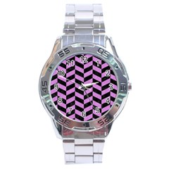 Chevron1 Black Marble & Purple Colored Pencil Stainless Steel Analogue Watch