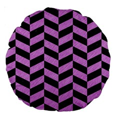 Chevron1 Black Marble & Purple Colored Pencil Large 18  Premium Round Cushions by trendistuff