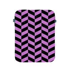 Chevron1 Black Marble & Purple Colored Pencil Apple Ipad 2/3/4 Protective Soft Cases by trendistuff
