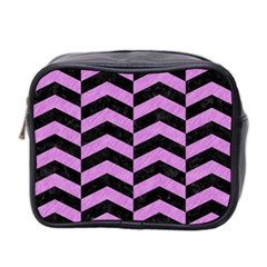 Chevron2 Black Marble & Purple Colored Pencil Mini Toiletries Bag 2 Side by trendistuff