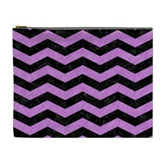 Chevron3 Black Marble & Purple Colored Pencil Cosmetic Bag (xl) by trendistuff