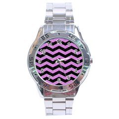 Chevron3 Black Marble & Purple Colored Pencil Stainless Steel Analogue Watch by trendistuff