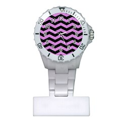Chevron3 Black Marble & Purple Colored Pencil Plastic Nurses Watch by trendistuff
