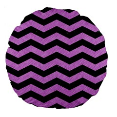 Chevron3 Black Marble & Purple Colored Pencil Large 18  Premium Flano Round Cushions by trendistuff