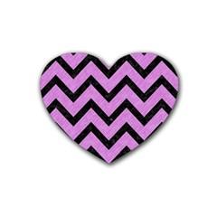 Chevron9 Black Marble & Purple Colored Pencil Heart Coaster (4 Pack)  by trendistuff