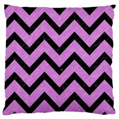 Chevron9 Black Marble & Purple Colored Pencil Large Cushion Case (two Sides) by trendistuff