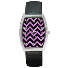 Chevron9 Black Marble & Purple Colored Pencil (r) Barrel Style Metal Watch by trendistuff