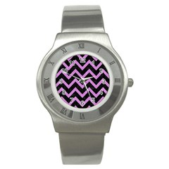 Chevron9 Black Marble & Purple Colored Pencil (r) Stainless Steel Watch by trendistuff