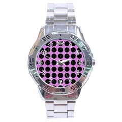 Circles1 Black Marble & Purple Colored Pencil Stainless Steel Analogue Watch by trendistuff