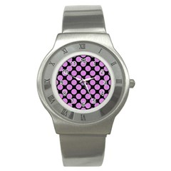 Circles2 Black Marble & Purple Colored Pencil (r) Stainless Steel Watch by trendistuff