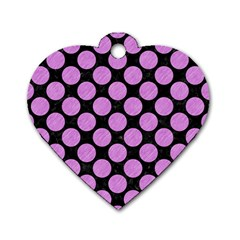 Circles2 Black Marble & Purple Colored Pencil (r) Dog Tag Heart (one Side) by trendistuff