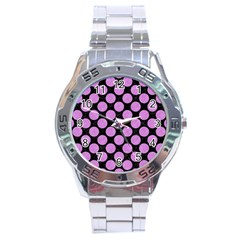 Circles2 Black Marble & Purple Colored Pencil (r) Stainless Steel Analogue Watch by trendistuff