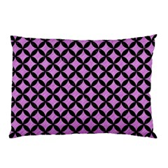 Circles3 Black Marble & Purple Colored Pencil Pillow Case (two Sides) by trendistuff