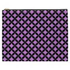 Circles3 Black Marble & Purple Colored Pencil Cosmetic Bag (xxxl)  by trendistuff