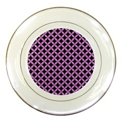Circles3 Black Marble & Purple Colored Pencil (r) Porcelain Plates by trendistuff