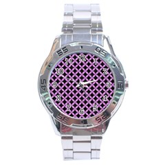 Circles3 Black Marble & Purple Colored Pencil (r) Stainless Steel Analogue Watch by trendistuff