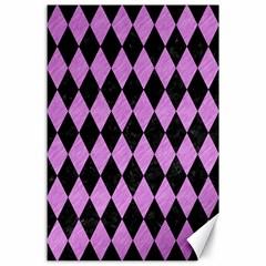 Diamond1 Black Marble & Purple Colored Pencil Canvas 24  X 36  by trendistuff
