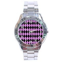 Diamond1 Black Marble & Purple Colored Pencil Stainless Steel Analogue Watch by trendistuff