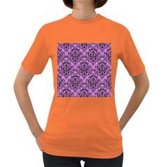 Damask1 Black Marble & Purple Colored Pencil Women s Dark T Shirt by trendistuff