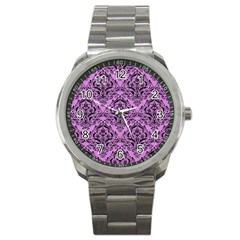 Damask1 Black Marble & Purple Colored Pencil Sport Metal Watch by trendistuff