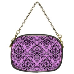 Damask1 Black Marble & Purple Colored Pencil Chain Purses (two Sides)  by trendistuff