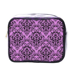 Damask1 Black Marble & Purple Colored Pencil Mini Toiletries Bags by trendistuff