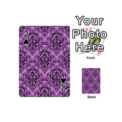 Damask1 Black Marble & Purple Colored Pencil Playing Cards 54 (mini)  by trendistuff