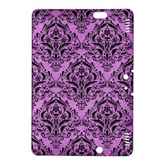 Damask1 Black Marble & Purple Colored Pencil Kindle Fire Hdx 8 9  Hardshell Case by trendistuff