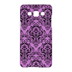 Damask1 Black Marble & Purple Colored Pencil Samsung Galaxy A5 Hardshell Case  by trendistuff
