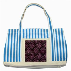 Damask1 Black Marble & Purple Colored Pencil (r) Striped Blue Tote Bag by trendistuff