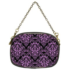 Damask1 Black Marble & Purple Colored Pencil (r) Chain Purses (two Sides)  by trendistuff