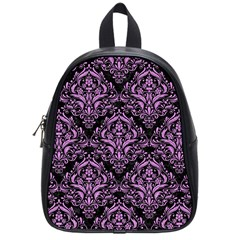 Damask1 Black Marble & Purple Colored Pencil (r) School Bag (small) by trendistuff