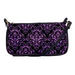 DAMASK1 BLACK MARBLE & PURPLE COLORED PENCIL (R) Shoulder Clutch Bags Front