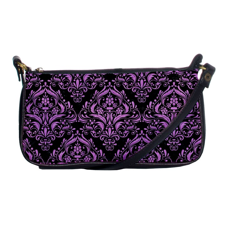 DAMASK1 BLACK MARBLE & PURPLE COLORED PENCIL (R) Shoulder Clutch Bags