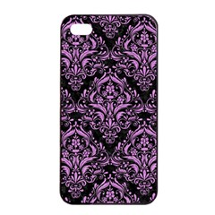 Damask1 Black Marble & Purple Colored Pencil (r) Apple Iphone 4/4s Seamless Case (black) by trendistuff