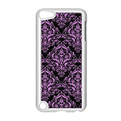 Damask1 Black Marble & Purple Colored Pencil (r) Apple Ipod Touch 5 Case (white) by trendistuff