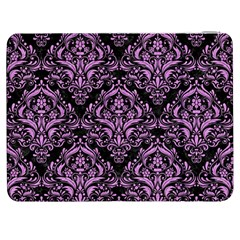 Damask1 Black Marble & Purple Colored Pencil (r) Samsung Galaxy Tab 7  P1000 Flip Case by trendistuff