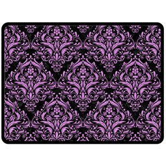 Damask1 Black Marble & Purple Colored Pencil (r) Double Sided Fleece Blanket (large)  by trendistuff
