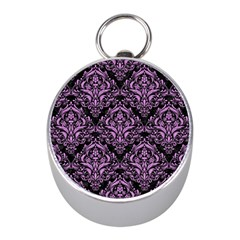 Damask1 Black Marble & Purple Colored Pencil (r) Mini Silver Compasses by trendistuff
