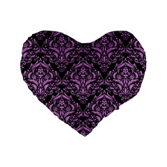 Damask1 Black Marble & Purple Colored Pencil (r) Standard 16  Premium Flano Heart Shape Cushions by trendistuff