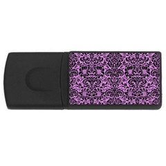 Damask2 Black Marble & Purple Colored Pencil Rectangular Usb Flash Drive by trendistuff