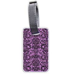 Damask2 Black Marble & Purple Colored Pencil Luggage Tags (two Sides) by trendistuff