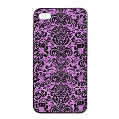 Damask2 Black Marble & Purple Colored Pencil Apple Iphone 4/4s Seamless Case (black) by trendistuff