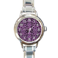 Damask2 Black Marble & Purple Colored Pencil (r) Round Italian Charm Watch by trendistuff