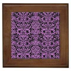 Damask2 Black Marble & Purple Colored Pencil (r) Framed Tiles by trendistuff